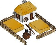 farm,cartography,map,geography,fantasy,building,cottage,home,house,field,fence
