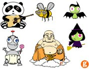 character,misc,panda,bee,witch,bat,buddha,monster,baby,cartoon,animal,buddha,cartoon,animal,design