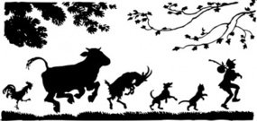 follow,leader,man,person,line,cat,dog,cow,goat,silhouette,rooster,media,clip art,externalsource,public domain,image,png,svg
