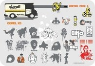 truck,guerilla,skater,breakdancer,hip,hop,robot,saiyan,dragon,ball,z,eiko,japanese,character,splat