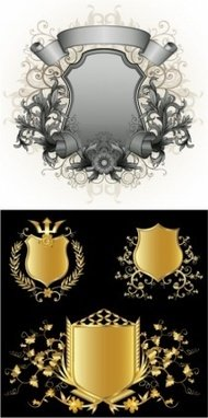floral,silver,gold,shield