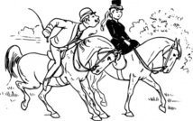 riding,couple,horse,rider,love,kiss,joke,black & white,contour,outline,externalsource,wikimedia common