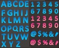 color,three,dimensional,letter,number,vector