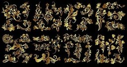 number,golden,flower,bird,butterfly,pattern,ector,gold