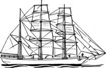 bark,ship,maritime,sailing,sailship,drawing,coloring book,line art,black and white,contour,outline,wikimedia common,psf