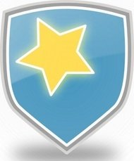 rachaelanaya,blue,shield,star,icon,shiny,cool,colour,symbol,media,clip art,public domain,image,svg