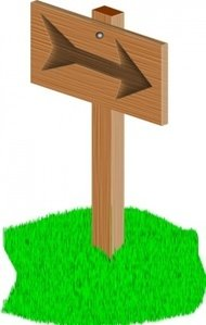 sign,post,sign post,direction,wood,grass,cartoon