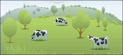 Vector Cow Pasture Material Clip Arts Free Clipart