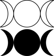 triple,goddess,symbol,waxing,crescent,full,moon,waning,outlined,filled,version,clip