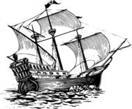 galleon,sail,ship,maritime,sailing,drawing,line art,black and white,contour,outline