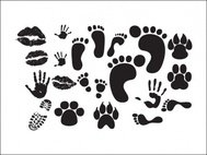print,human,animal,collection,footprint,handprint,lip,animal,lip