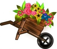 flower,wheelbarrel,girl,chica,madchen,blumen,media,clip art,public domain,image,png,svg,inkscape