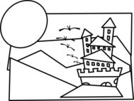 cartoon,castle,outline