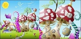 mushroom,cute,fairy,tale,world,vector,material