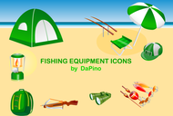 fishing,equipment,icon,binocular,tent,beach,crossbow,backpack,napsack,lure,lantern,umbrella