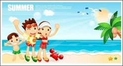 cartoon,boy,girl,seaside,resort