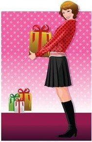 beautiful,girl,smilling,holding,her,gift