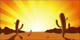 cactus,sunset,desert,sunrise,torn,green,sun,ray,yellow,sand,heat,landscape,illustration