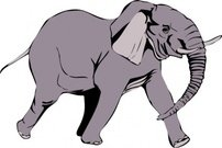 elephant,animal,mammal,running,colour,gray,media,clip art,public domain,image,svg
