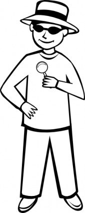 outline,remix,people,kid,child,boy,magnifying glass,whodunnit,spy,detective,undercover,sunglasses,cartoon,colouring book,line art,mystery