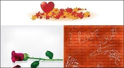 maple,leaf,rose,heart,shaped,wall,material