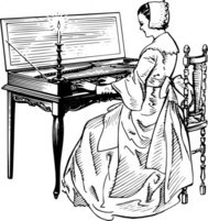 woman,playing,clavichord,people,music,musical instrument,line art,black and white,contour,outline,media,clip art,externalsource,public domain,image,png,svg,wikimedia common,psf,wikimedia common