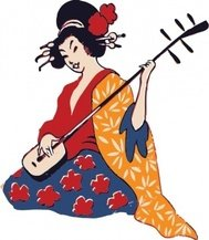 geisha,playing,shamisen