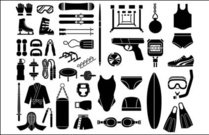 various,sketch,element,vector,material,sport,equipment,type