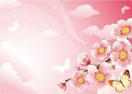 cherry,blossom,background,animal,butterfly,cloud,flower,japanese,nature,pink,shiny,sky,wind