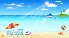 seaside,resort,holiday,beach,summer,dolphin,seastar,sun,umbrella,paradise