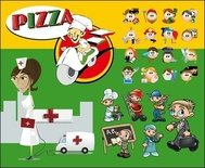 multiple,role,cartoon,character,nurse,front,hospital,reanimation,pizzaiolo,pizza,glossy,occupation,icon,type,worker