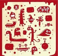 many,cute,doodle,monster