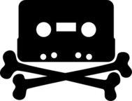 cassette,bone,music,piracy,piratbyran,pirate,silhouette,crossbones,tape