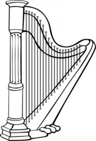 harp,music,instrument,colouring book