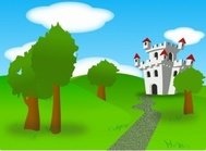 cartoon,castle,remix,fort,fortress,plain,land,landscape,scene,scenery,nature,outdoor,forest,fairy tale,fantasy,clip art,media,how i did it,public domain,image,png,svg,fairy tale,fairy tale
