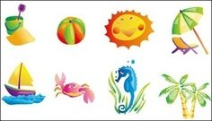 summer,beach,subject,vector,icon