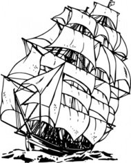 clipper,maritime,sailing,ship,sailship,drawing,line art,black and white,contour,outline,media,clip art,externalsource,public domain,image,png,svg,wikimedia common,psf,wikimedia common