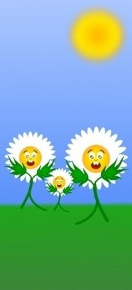 egonpin,flores,cartoon,vegetal,nature,plant,white,green,yellow,flower,daisy,caricature
