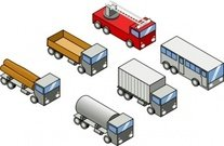 isometric,vehicle,bus,city,firefighter,truck