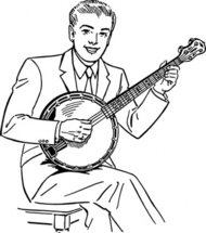 playing,banjo,people,man,music,musical instrument,string instrument,line art,black and white,contour,coloring book,outline,musical instrument,string instrument,wikimedia common,psf