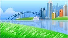 river,side,bridge,beautiful,city,scenery,landscape,building,grass,cloud,reflection,silhouette