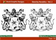 sketchy,heraldry,lion,shield,royalty,design,sketchy,vector,design