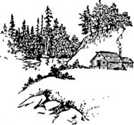 cabin,along,stream,western,scene,nature,media,clip art,externalsource,public domain,image,png,svg