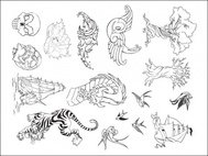tattoo,set,sparrow,tree,dragon,tiger,pirate,pirate ship,skull,hand drawn,bird,dragontiger,ship,hand,drawn