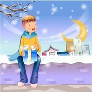 boy,snow,with,hi,gift