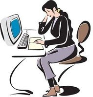 girl,working,her,desktop