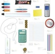 phone,mp3,player,pencil,calculator,office,set