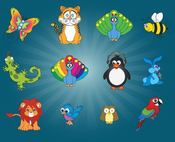 animal,bird,cartoon,lion,tiger,butterfly,lizard,peacock,penguin
