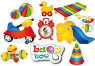 baby,ball,duck,kid,toy,nipple,micky mouse,tricycle,xylophone,alarm clock