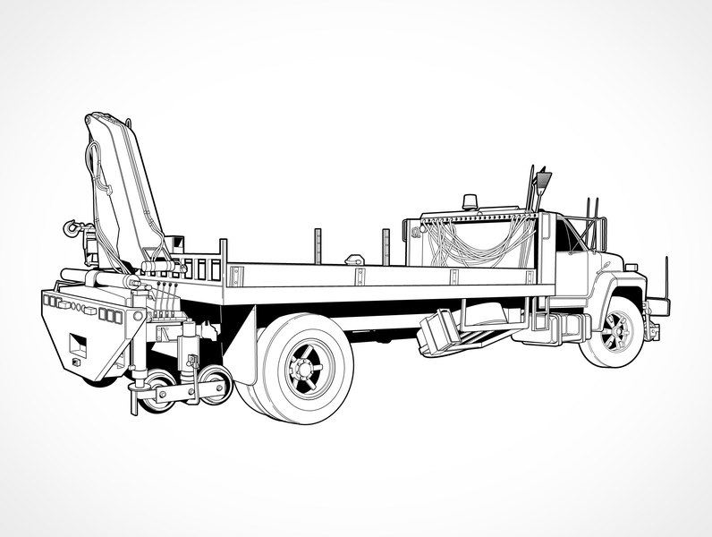 Free Vector Flatbed Truck With Boom Crane Clip Arts Clipart